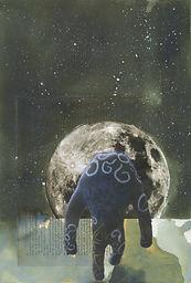 Mixed media sketchbook artwork by Jacob Gamm of George walking twords the moon