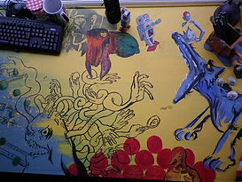 Artists studio image. Desk of Jacob Gamm illustrator and concept artist