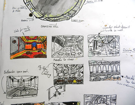 Ludic Gulls thumbnail sketchbook art by Jacob Gamm. Concept art for PADMA Who dunnit? restaurant. Tranzfuser 2016 games competition