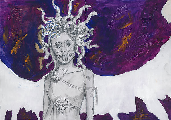 Medua the Gorgon Sketchbook Jacob Gamm Concept Art. MA Digital Games: Design and Theory Brunel University. Mixed Media. Mythology