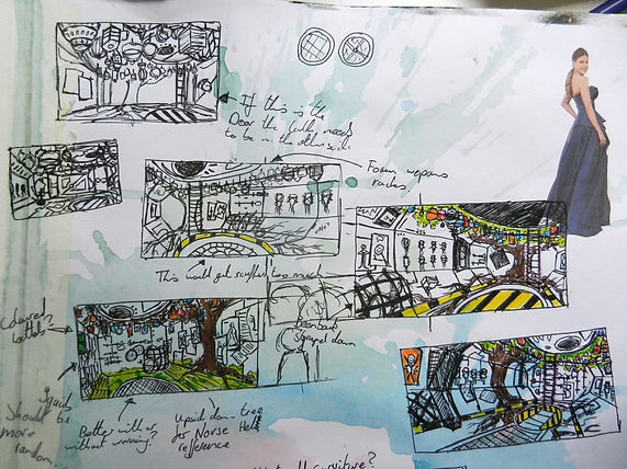 Ludic Gulls Sketch book thumbnail drawings by Jacob Gamm. Tranzfuser Games competition 2016. Airlock concept art