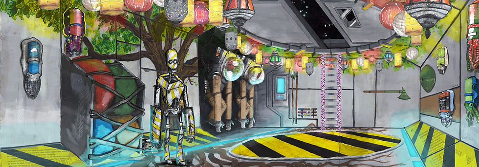 Ludic Gulls Concept art & Illustration by Jacob Gamm. Spaceship airlock an robot. mixed media colourful lights. Tranzfuser competition 2016