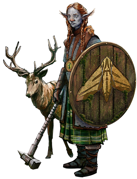 firbolg jacob gamm concept art dungeons dragons art illustration deer shield chain mail kilt female digital