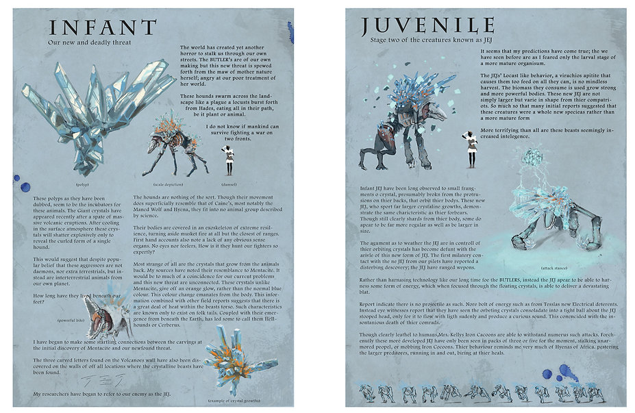 Jacob Gamm concept art & Games design document for DERP Studios. JEJ creature design.