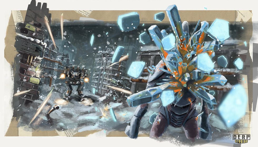 Jacob Gamm. DERP Studios promotional art for the JEJ. Mixed media, digital and traditional. Mech fight.