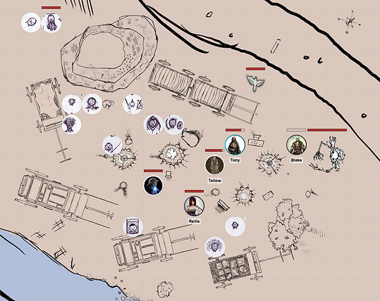 Screen Shot of Dungeons and Dragons game with map by Jacob Gamm