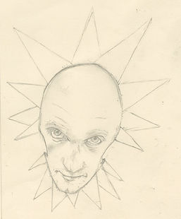 The Psychic Floating head of Hue. jacob gamm. George and his Amazing Singing Limpets. The Circus of Curiosity and Disbelif. Pencil Drawing