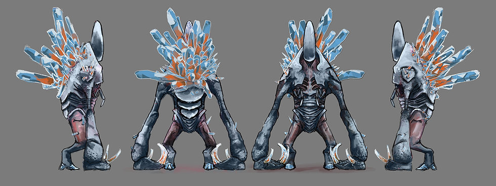 Jacob Gamm Character sheet for DERP Sudios. Golem digital painting. Crystal growths.