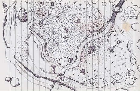 Hand drawn sketch of a Barghast Gravyard for Jacob Gamm's tabletop RPG game set in the Malzan Books of the Fallen
