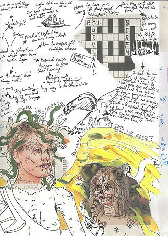 Medusa sketchbook. Jacob Gamm MA Digital Games: Design & Theory Brunel university. Mixed Media collage