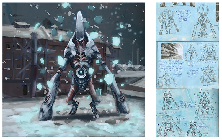 Jacob gamm Concept Art and thubnails for DERB studios. Digital alien painting Flesh Golem a kind of biological Mecha