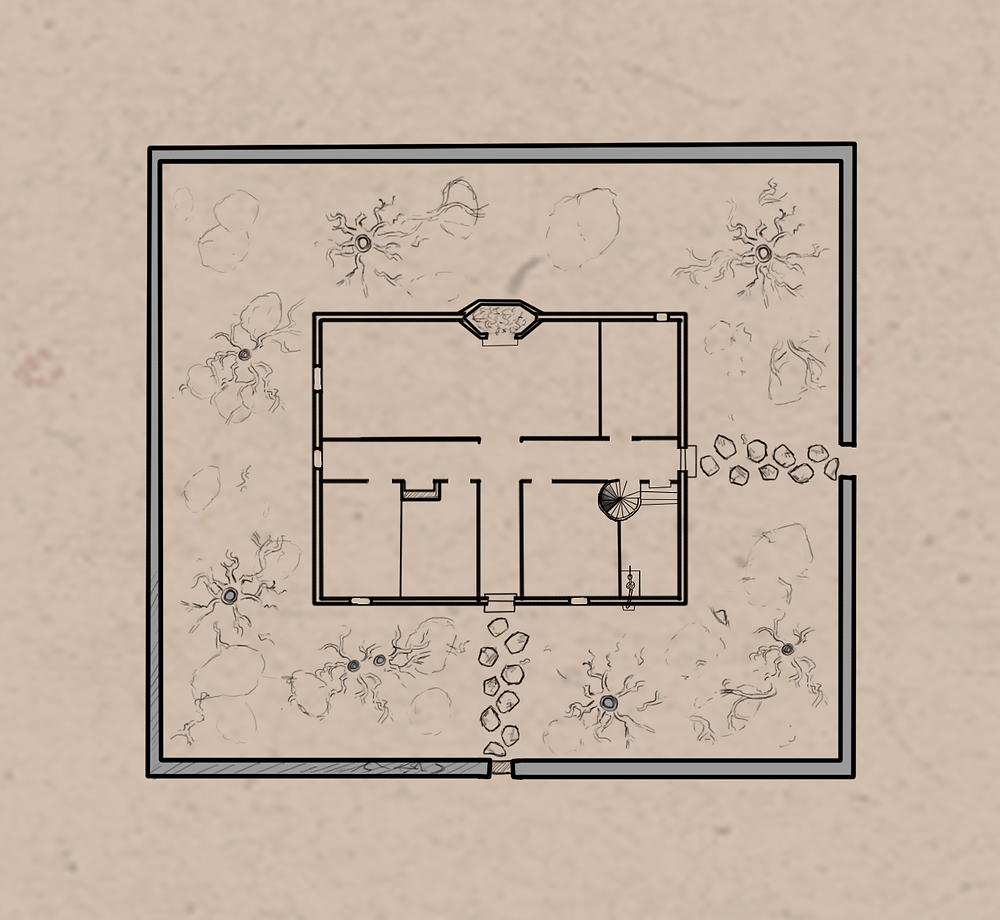 Azath House Map drawn by Jacob Gamm for a digital RPG game inspired by the Malazan Book of the Fallen