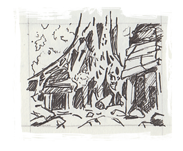 Death & the Afterlife sketchbook thumbnail by Jacob Gamm. Overgrown temple. MA Digital Games: Design & Theory Brunel
