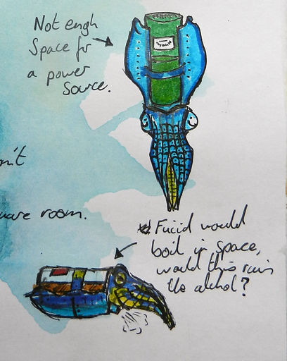 Ludic Gulls thumbnail sketchbook art by Jacob Gamm. Concept art for PADMA Who dunnit? Robot cuttlefish, CuttleBottle Alcahol. Tranzfuser 2016 games competition
