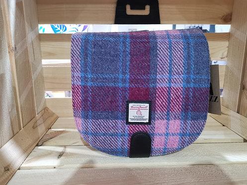 Genuine Harris Tweed Blue / Pink Tartan Cross Body Small Shoulder Bag