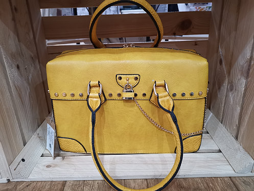 Mustard Ladies Handbag With Lock & Chain
