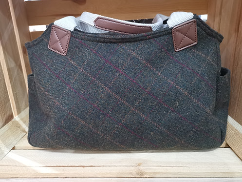 Green Tweed Ladies Bag With Canvas Handle