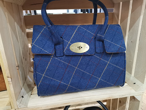 Blue Tweed Loop Handle Bag