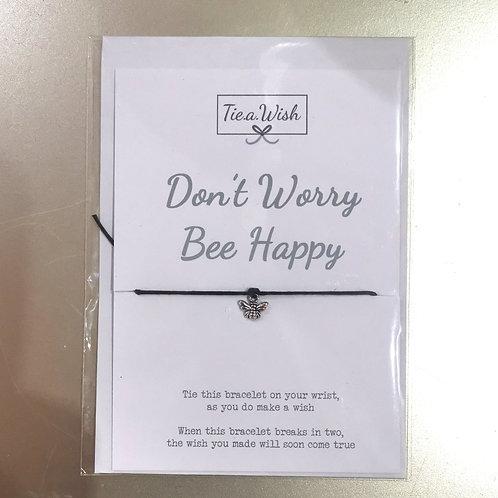 Don't worry bee happy tie a wish bracelet