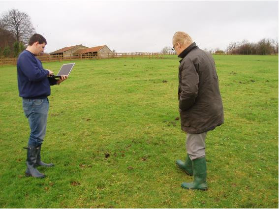 Gareth being shown the crash site by eyewitness Ray.