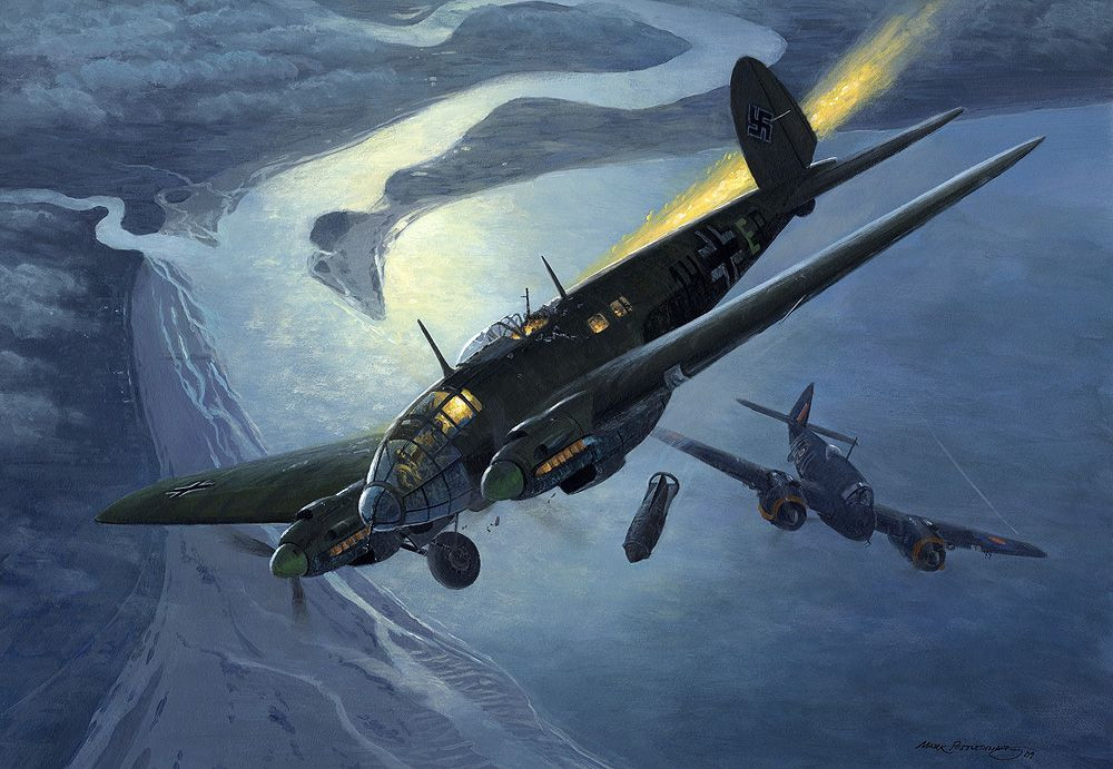 Mark Postlethwaite's painting showing the He111 being shot down
