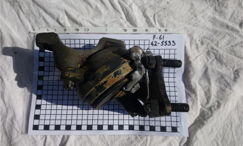 Engine mount, with melted aluminium.