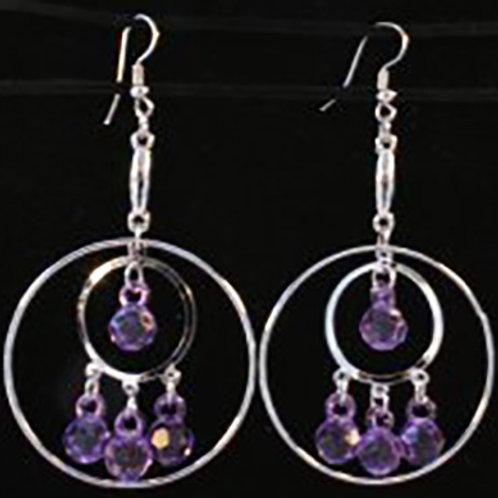 Silver Circles - Lavender Earrings