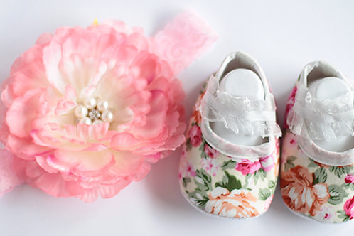 Pastel Floral Soft Baby Shoes