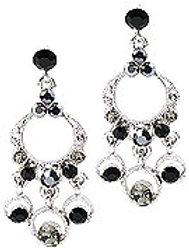 Black & Crystal Chandelier Earrings