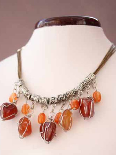 Natural Agate wrapped stone necklace