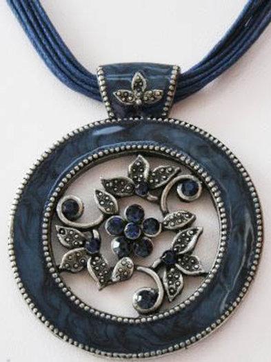 Navy Blue Floral Pendant