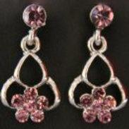 Pink Diamante Chandelier Earrings