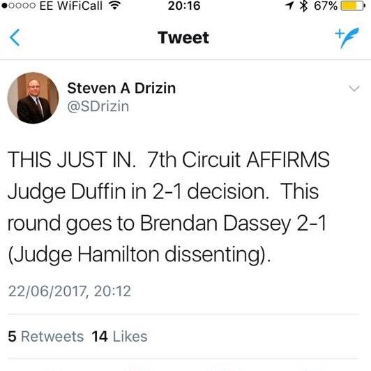 Steven Drizin Heralds Brendan's Win