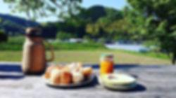 ウッドデッキで朝食を__#ホームべーカリー #パナソニック_#毎朝1斤焼きます