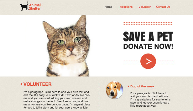 Tiere website templates – Tierheim