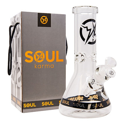 Soul Glass 9mm Thick Clear Glass Beaker Bong 10 Inches