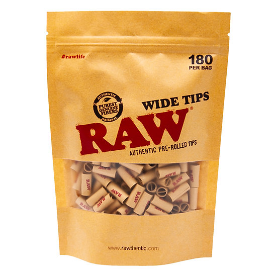 Raw Pre-Rolled Wide Unbleached Tips 180 Per Bag New