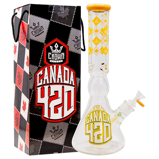 Crown Glass 14 Inch Jade Yellow Canada 420 Bong