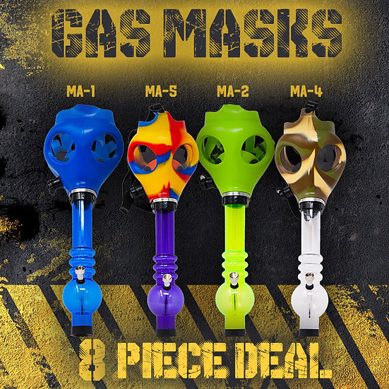 Assorted Colour Gas Mask Bongs