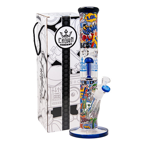 Blue Comic Funk Crown Glass Tree Perc 14 Inches Bong From The Funk Collection