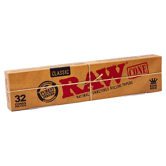 RAW Classic Natural Unrefined Hemp Pre Rolled Cones - 32 King size