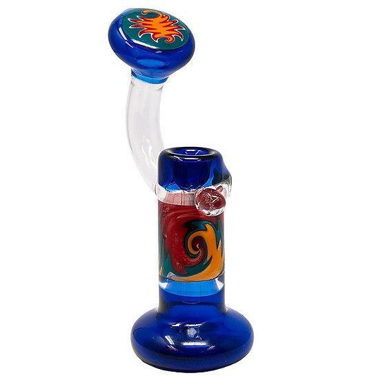 Blue Cobalt Tube Colored Glass Bubbler