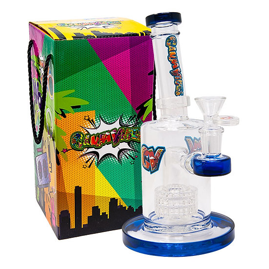 Blue Tilt-Head Medium Ganjavibe Bong With Showerhead Perc