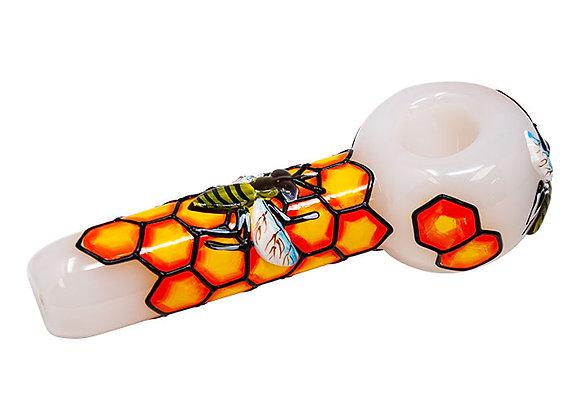 5 Inch Honeybee Design Glass Pipe