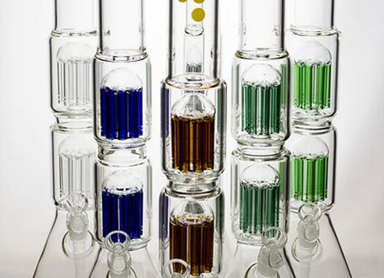 """20"""" Infyniti 7 mm thickness Dual 8-arm glass water bong"""