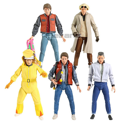 """NECA BTTF Marty McFly, Doc Brown, &  Biff Tannen 7"""" Scale Action Figures"""