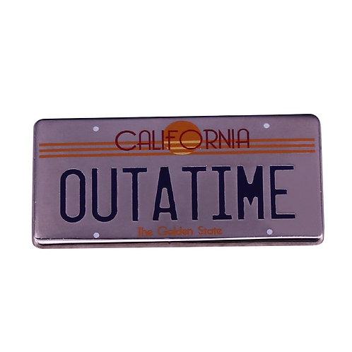 Back to the Future California 'OUTATIME' Time Machine License Plate Badge