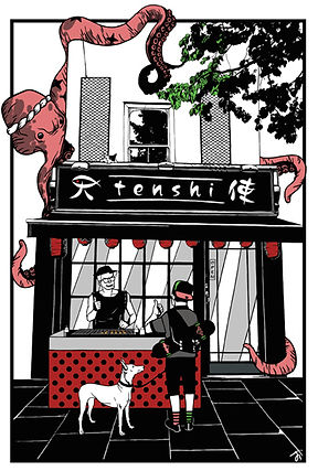 Cool illustration of the front of Tenshi Japanese Restaurant in Angel