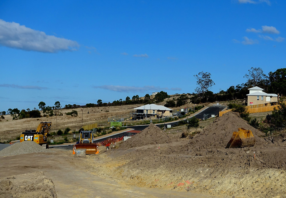 Looking South from Stage 3 to the Ronald Young Display home now nearing completion.