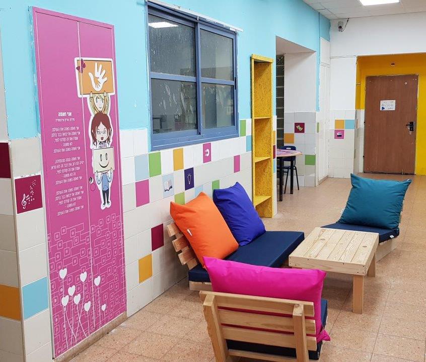 עיצוב מרחב למידה המשלב חווית צבע, תוכן ומקום רך לישיבה\ מנוחה\ למידה
